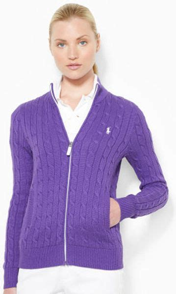 zip up cable knit sweater ralph golf cable knit zip up sweater in purple