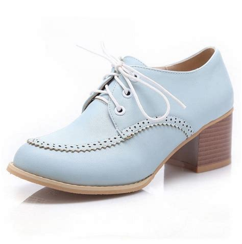mid heel oxford shoes latasa s chic mid heel lace up oxford shoes blingby