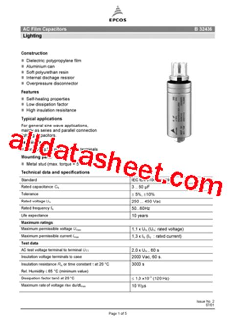 datasheet capacitor epcos a1306 datasheet pdf epcos