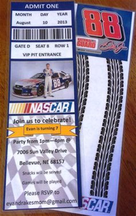 printable nascar tickets nascar party invitation ticket style choose your
