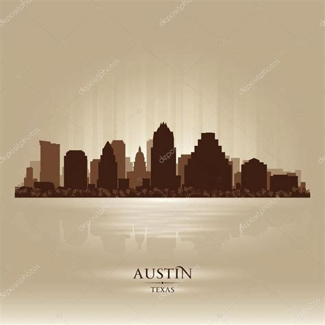 austin texas city skyline silhouette stock vector