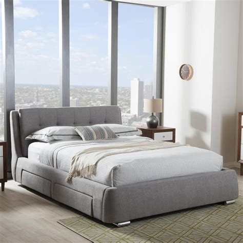 gray upholstered bed baxton studio camile gray queen upholstered bed 28862 7120