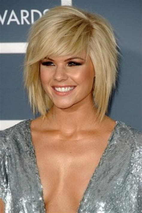 images front and back choppy med lengh hairstyles choppy layered bob with full bangs medium length