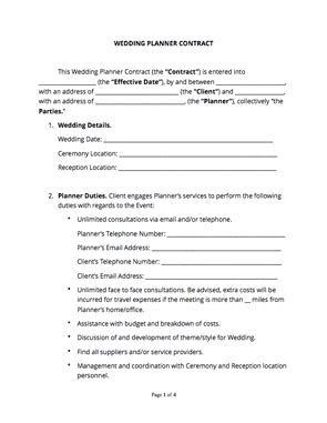 Wedding Planner Contract Free Sle Docsketch Wedding Planner Contract Template