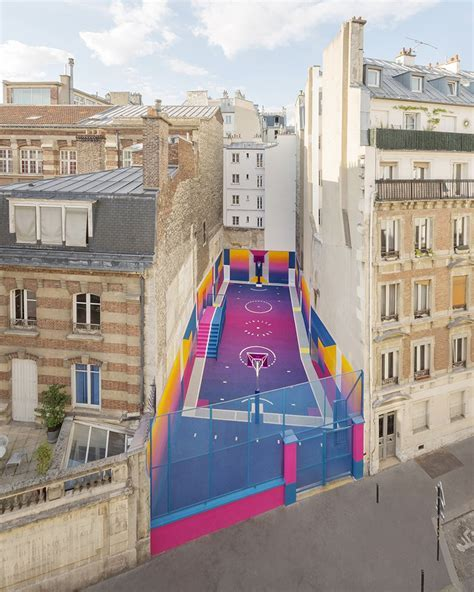 paris' pigalle basketball court canvassed in a gradient of