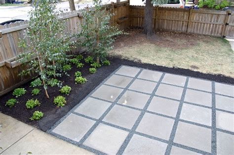 Backyard Patio With Concrete Pavers 2 X2 Simple Paver And Gravel Patio