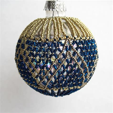 blue and gold beaded christmas ball ornament by mitalina