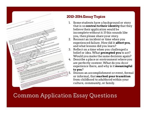 College Application Essay Questions Common App Essay Exles 2014 Mfacourses887 Web Fc2