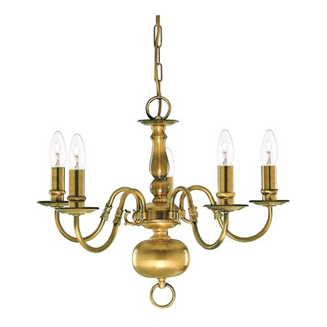 Flemish Solid Antique Brass 5 Light Chandelier With Metal Candle Covers For Chandeliers
