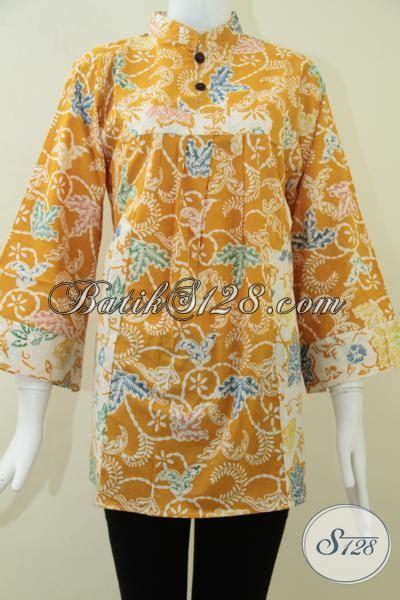 Kemeja Kuning Kunyit batik motif terbaru untuk fashion wanita modern baju batik