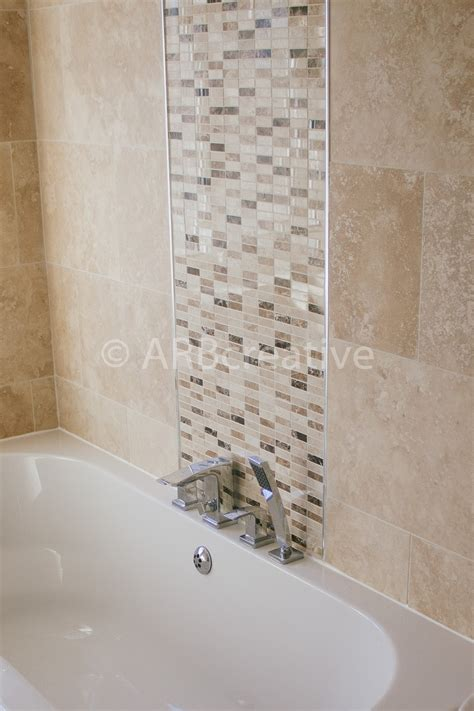 Travertine Wall Tiles With Natural Stone Mosaic Feature Bathroom Tile Feature Ideas