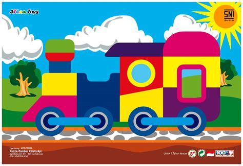 Mainan Edukatif Puzzle Kayu Gambar Zebra puzzle gambar kereta api mainan kayu