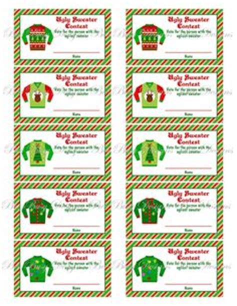 free printable ugly sweater voting ballots ugly christmas sweater par tay on pinterest photo