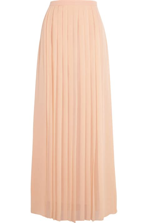 tibi pleated silk crepe de chine maxi skirt in beige lyst