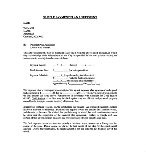 16 payment agreement templates free sle exle
