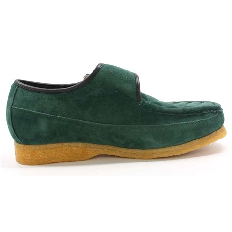Green Suede Collection Royal School Slip On Green Suede