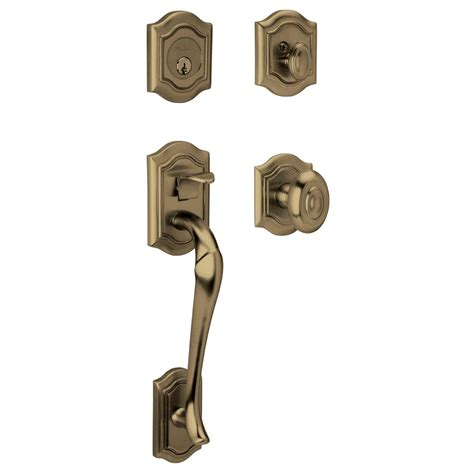 Baldwin Brass Ls by Baldwin 85327 050 Dblc Satin Brass Black Cylinder Bethpage Handleset With Bethpage Knob