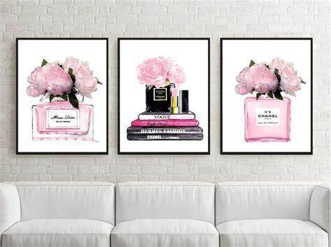 fashion print set  perfume poster  dior pink decor