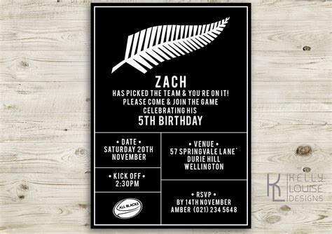 free printable birthday invitations nz all blacks birthday invitation free thank you card