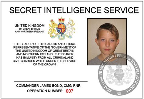 mi6 id card template make your own bond 007 id card
