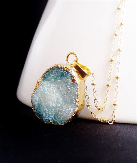 how to make druzy jewelry blue druzy necklace aqua pendant blue