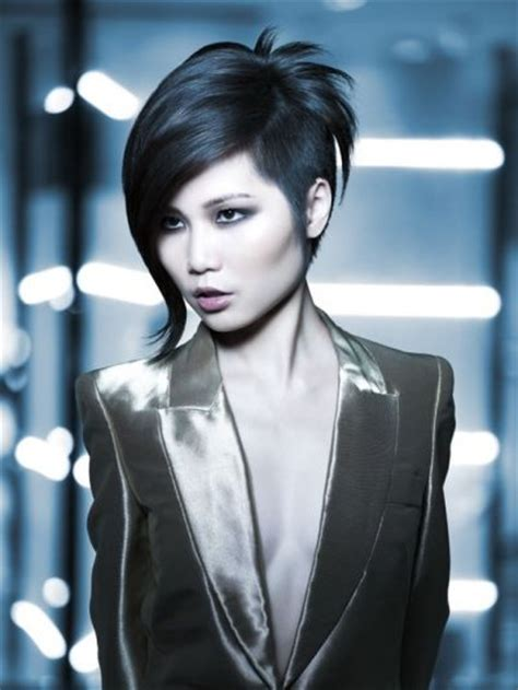 cross between a bob and pixie haircut futuristic cross bob pixie haircut asian women