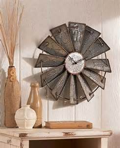 country home wall decor metal windmill wall clock rustic farm house country art