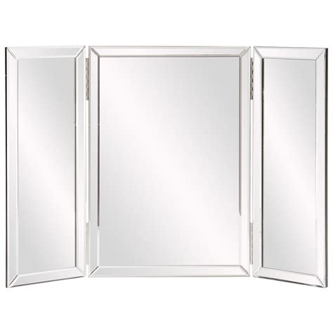 tri fold bathroom vanity mirrors tripoli trifold glass tabletop vanity mirror howard