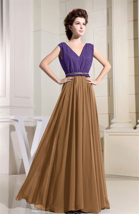 Brown V Neck Casual Dress light brown bridesmaid dress casual a line v neck floor length pleated bjsbridal