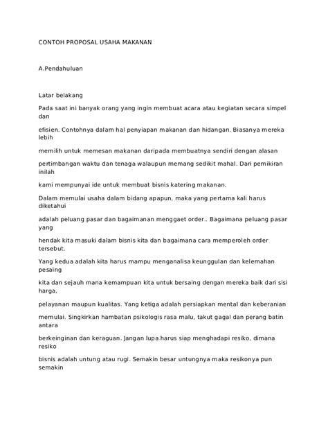 membuat proposal usaha cafe contoh proposal usaha upload share and discover caroldoey