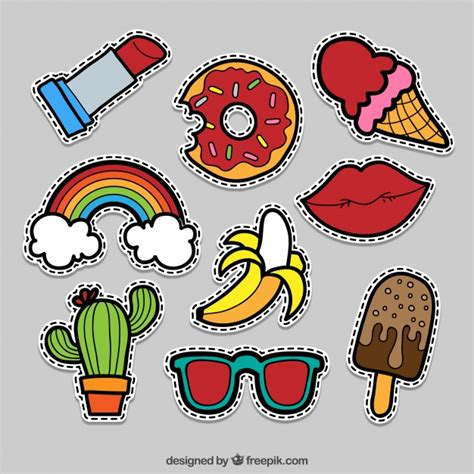 Comic Aufkleber by Pack Of Comic Stickers Vector Free