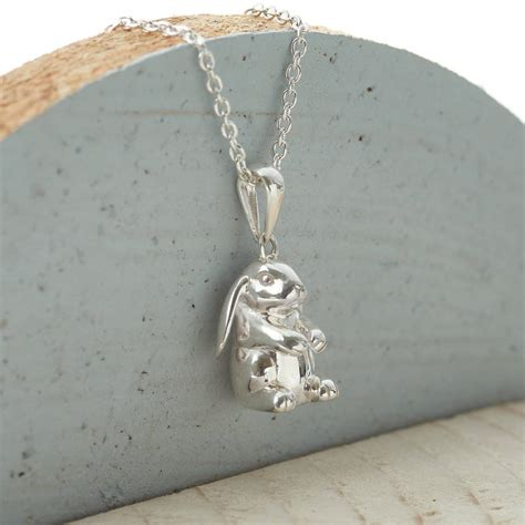 personalised sterling silver lop eared rabbit necklace by