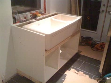 Ikea Kitchen Sink Cabinet by Farmhouse Sink Into Ikea Cabinets Homebuilding