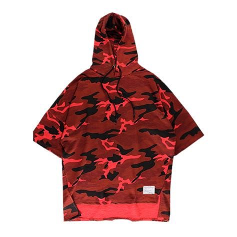 hooded t shirt pattern fashion hooded camouflage pattern breathable short sleeve
