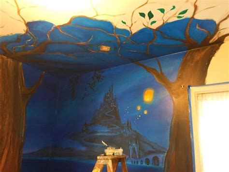 tangled bedroom mom paints incredible tangled themed mural for her