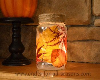 Decoupage With Leaves - decoupage leaf jar debeesbuzz