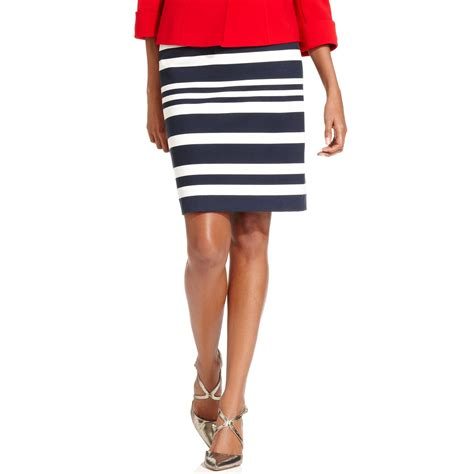 tahari striped ponte knit pencil skirt in blue navy ivory