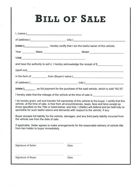 bill of sale contract template free printable bill of sale templates form generic