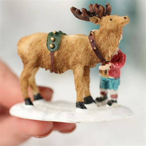 miniature santa and reindeer christmas figurine new items