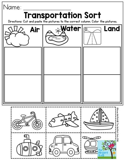 Kindergarten Activities On Transportation | transportation sort air water or land perfect for