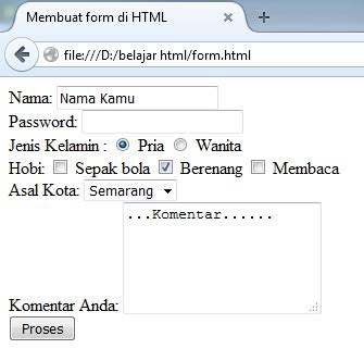 membuat form option html cara membuat form dengan html tag form struktur web