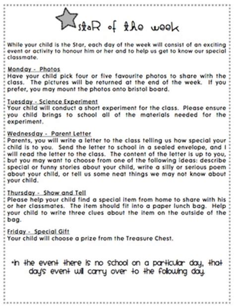 Parent Letter To Child Of The Week Letter To Parents Preschool Of The Week The O Jays