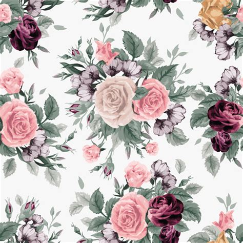 download pattern rose retro beautiful roses vector seamless pattern free vector
