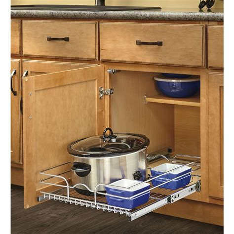 slide out organizers kitchen cabinets shop rev a shelf 17 5 in w x 7 in h metal 1 tier pull out