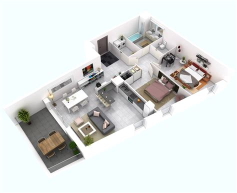 Creative House Plans by 25 More 2 Bedroom 3d Floor Plans