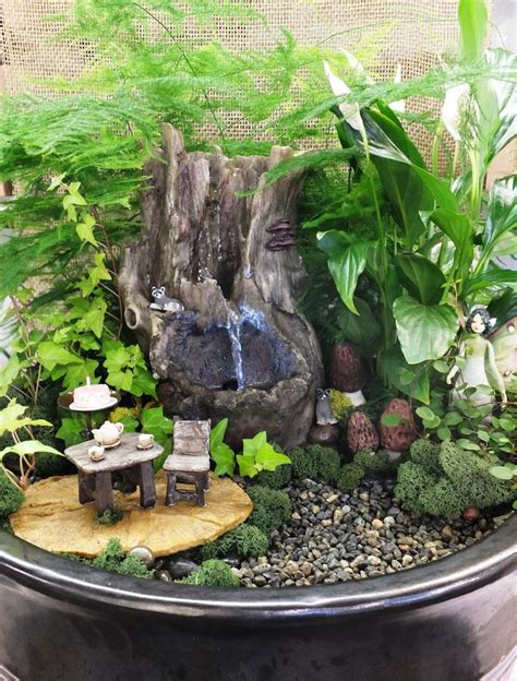 fairy garden miniature fieldstone fountain 10 best images about gardens on bowl solar and indoor gardens