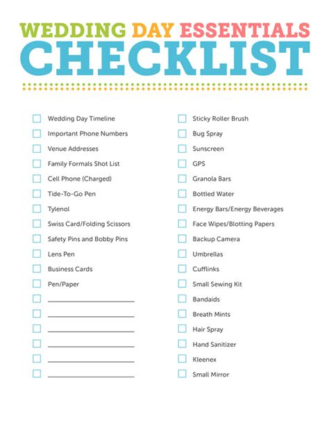 Wedding Day Checklist Template free wedding photography essentials checklist