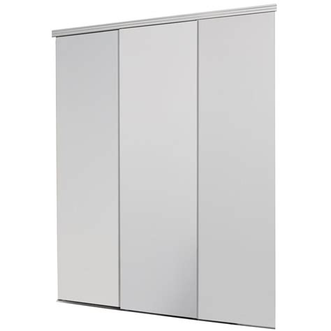 Interior Sliding Closet Doors Impact Plus 96 In X 96 In Smooth Flush Solid White Mdf Interior Closet Sliding Door With