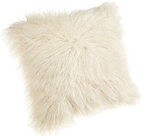 White Fur Throw Pillow by Brentwood 18 Inch Mongolian Faux Fur Pillow White Fluffy