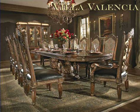 valencia antique style round table dining room set villa valencia round table dining by aico aico dining
